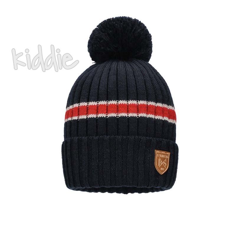 Детска шапка Bixie с кожена емблема за момче