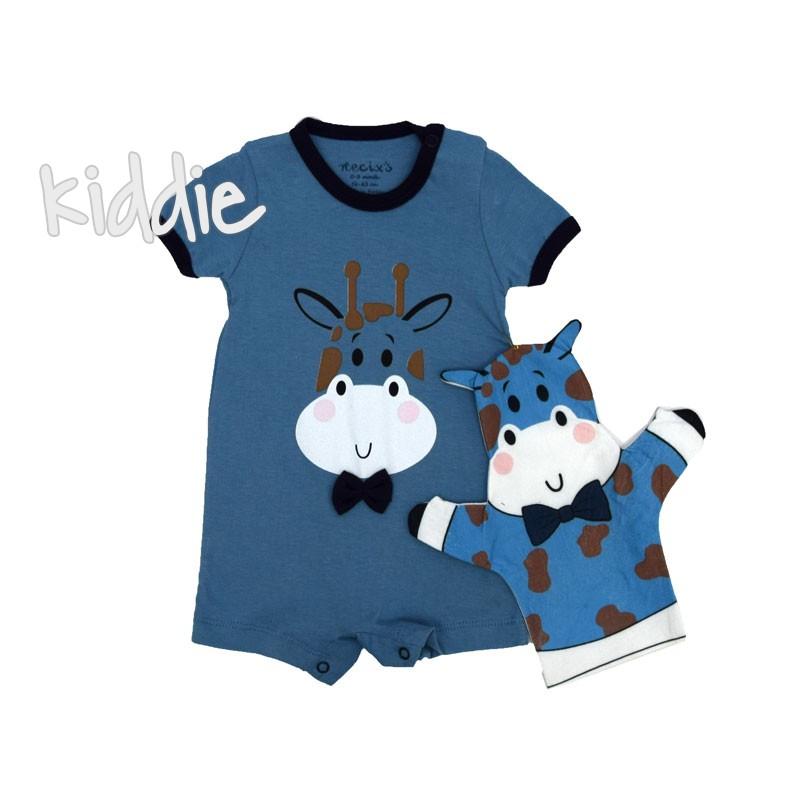 Бебешки гащеризон Necixs за момче с играчка Крава за ръкав