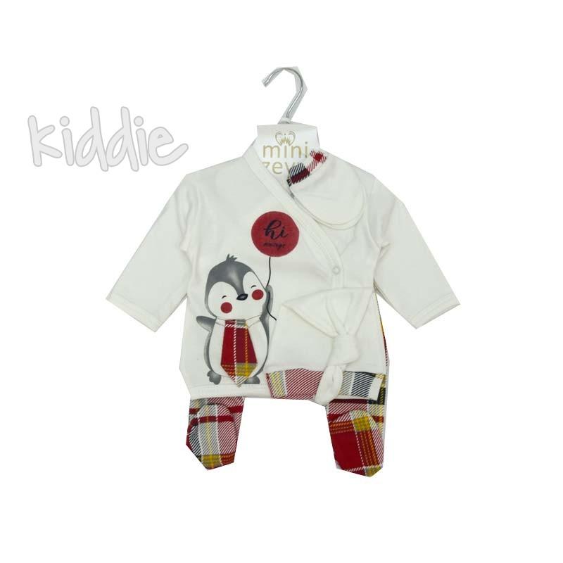 Бебешки комплект Пигвин с вратовръзка MiniZeyn за момче