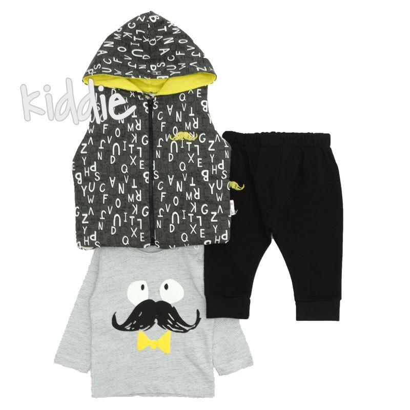 Бебешки комплект Мустаци Hippil Baby за момче