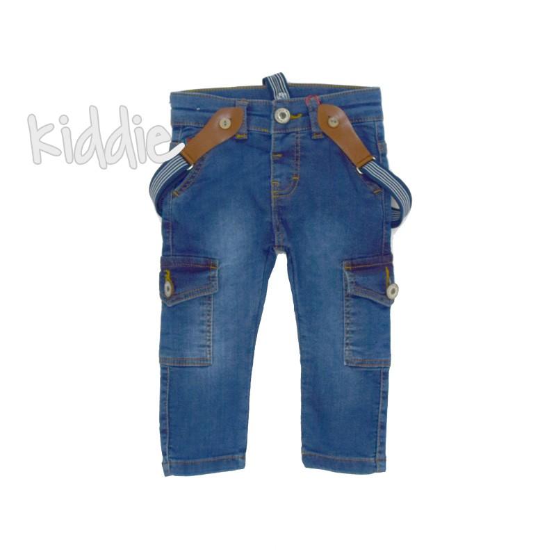 Бебешки дънки за момче с тиранти и странични джобове Cikoby