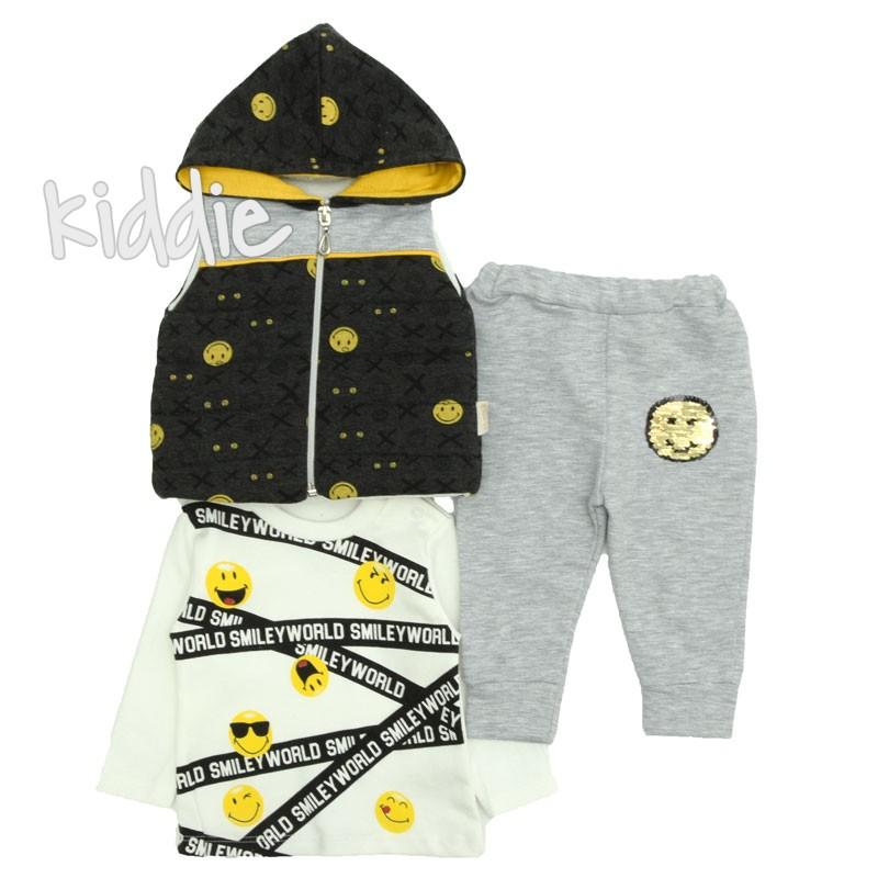 Бебешки комплект Емотикони Boncok Baby за момче