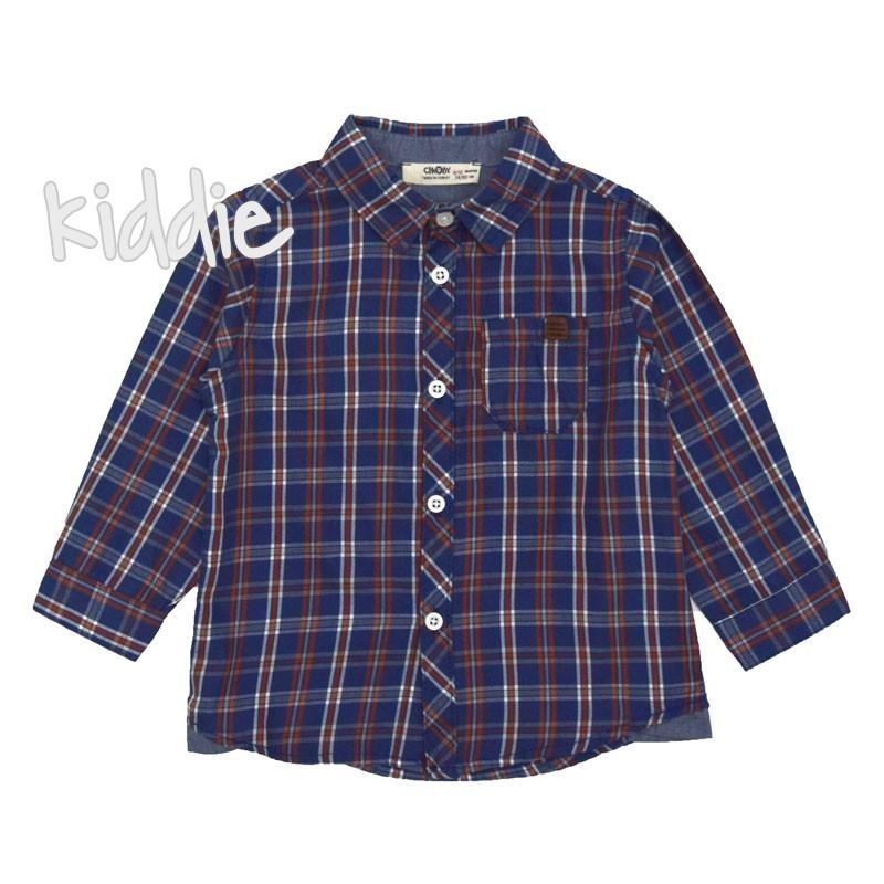 Бебешка риза в каре Cikoby за момче