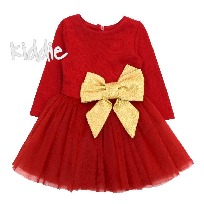 e1df282cac8 Бебешка рокля Contrast с голяма златиста панделка | Kiddie