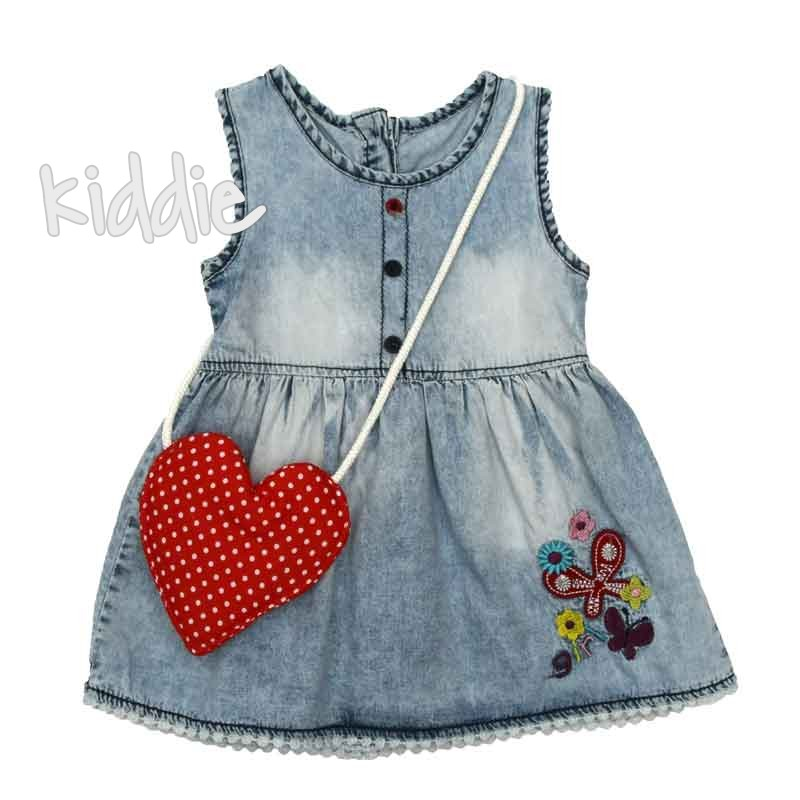 Бебешка дънкова рокля Oryeda с чанта
