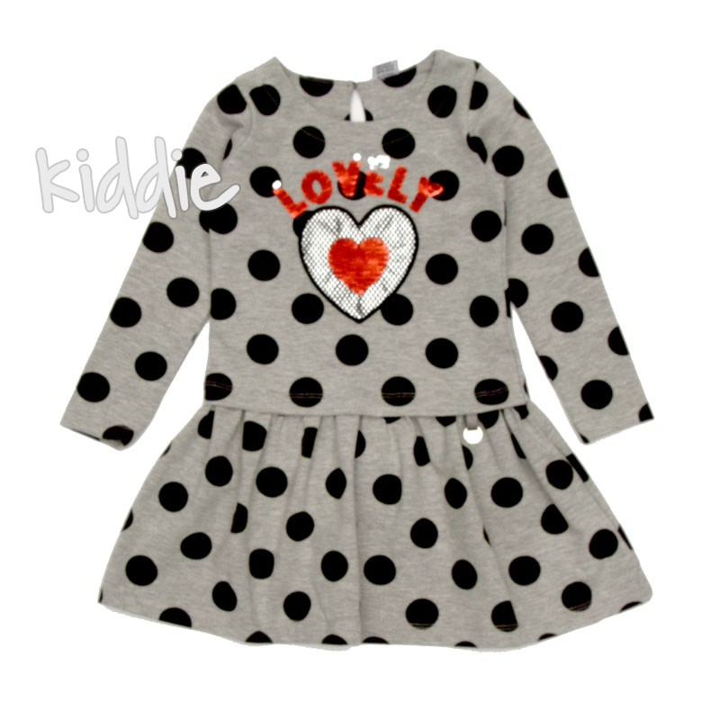 Детска рокля Wanex с точки и надпис Lovely