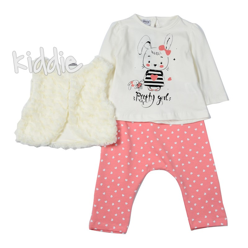Бебешки комплект Deko с пухкав елек за момиче
