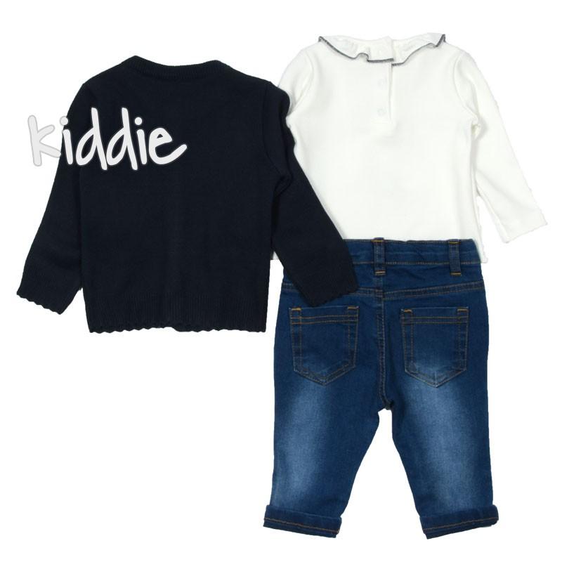 Бебешки комплект Bebus за момиче с бродирани дънки