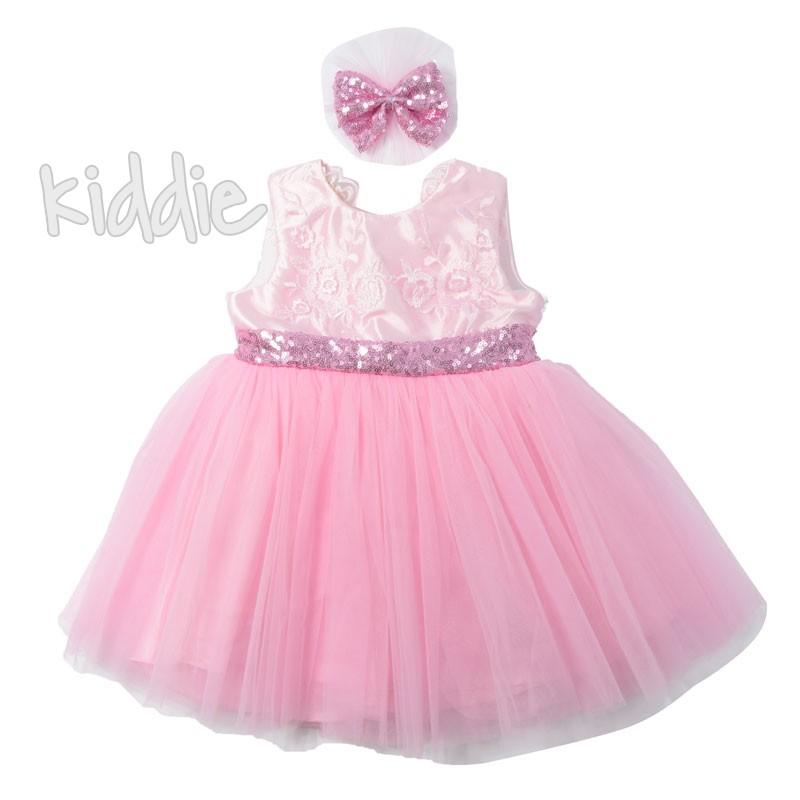 Официална бебешка рокля Pugi baby с пайети