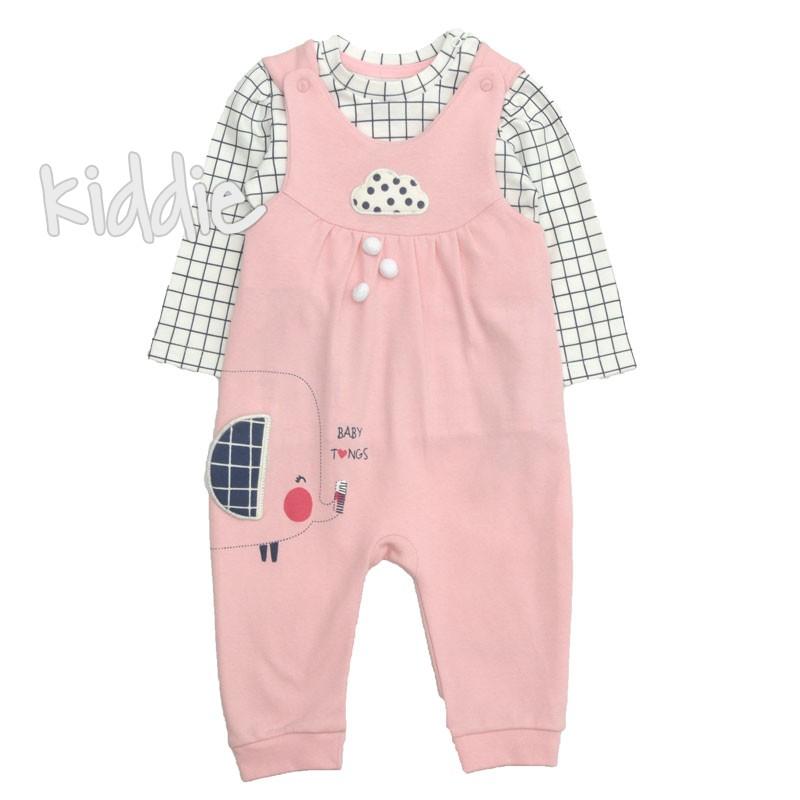 Бебешки гащеризон Tongs за момиче с блуза на квадрати
