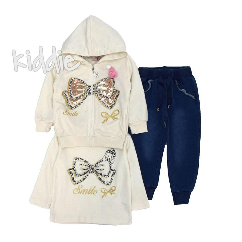 Бебешки комплект Last Star с панделка и дънково долнище за момиче