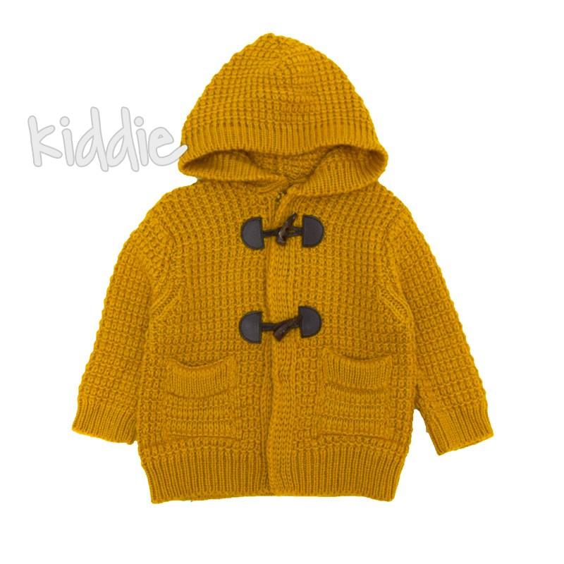 Бебешка плетена жилетка Cikoby с качулка