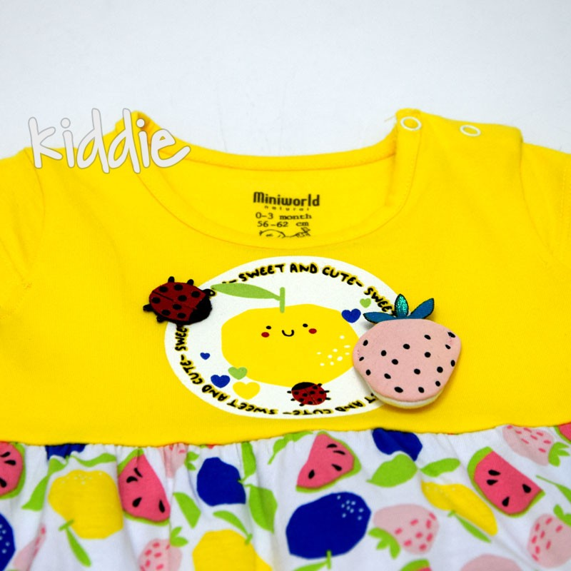 Бебешки гащеризон Miniworld за момиче с ягода и калинка