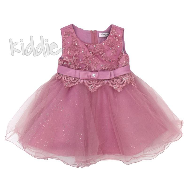 Официална бебешка рокля с бродиран тюл