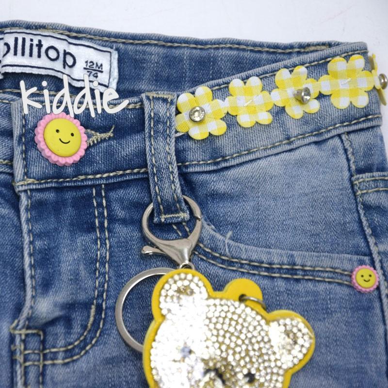 Бебешки дънки Lollitop с цветя на колана за момиче