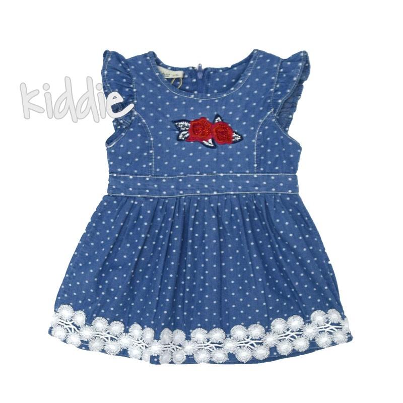 Бебешка дънкова рокля Sani на точки