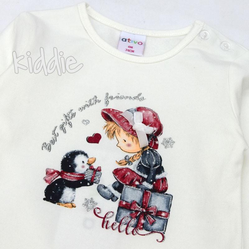 Бебешка блуза Ativo с пингвин за момиче