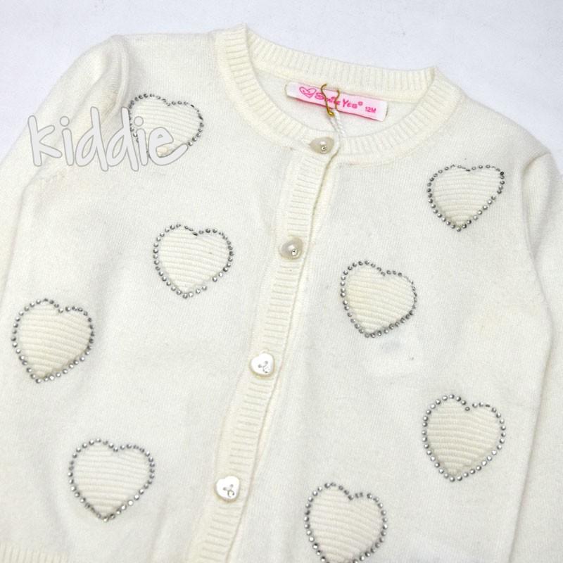 Бебешка жилетка Smile Yes за момиче със сърца