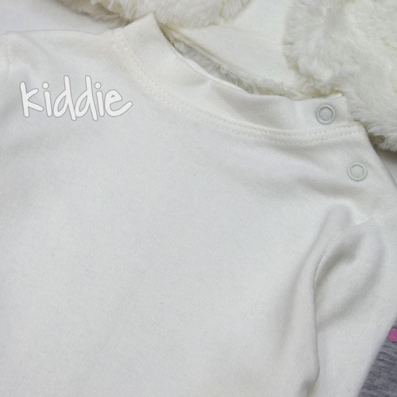 Бебешки комплект Allegrose за момиче с пухкав елек