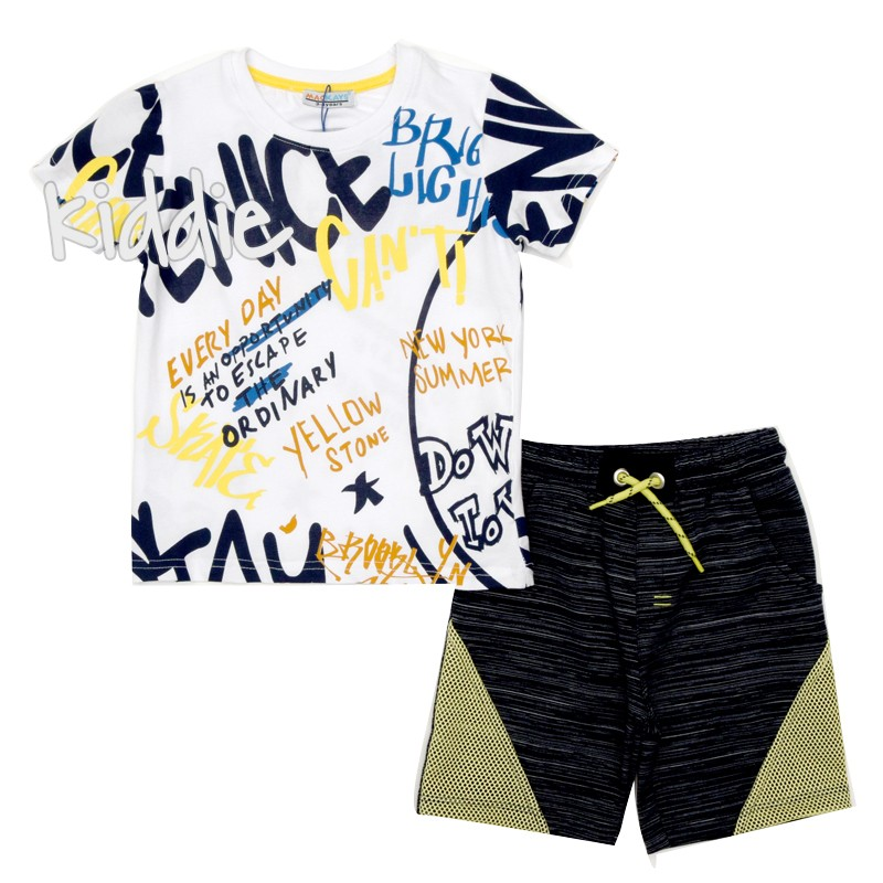 Детски комплект Yellow Mackays за момче с тениска