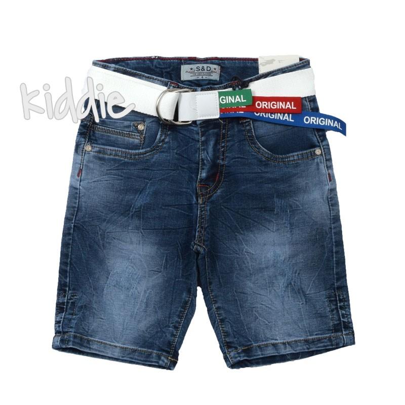 Къси дънкови панталони с колан за момче