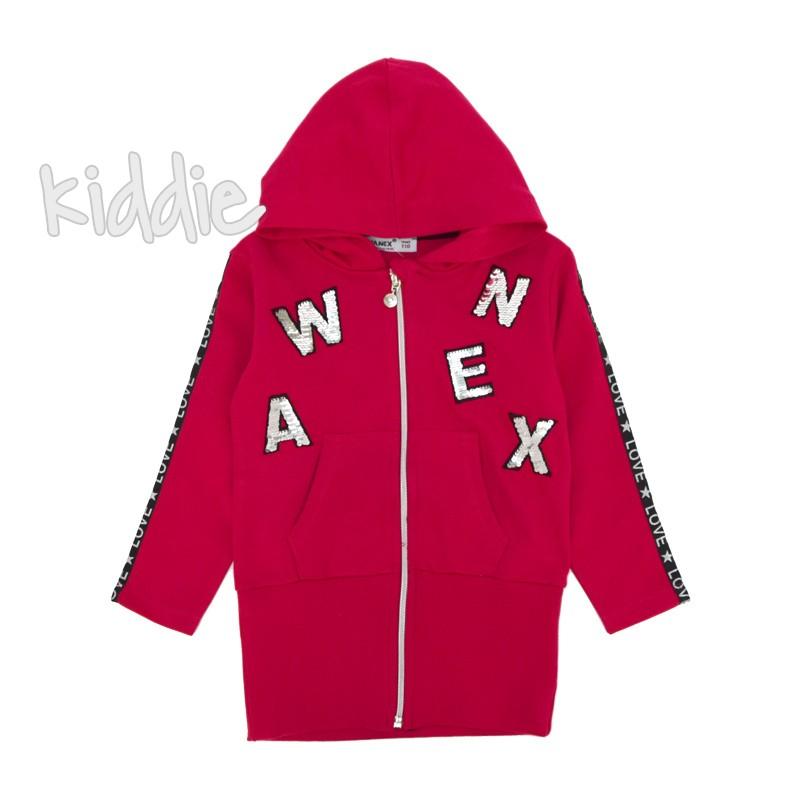 Детски суичер Wanex за момиче с букви от пайети
