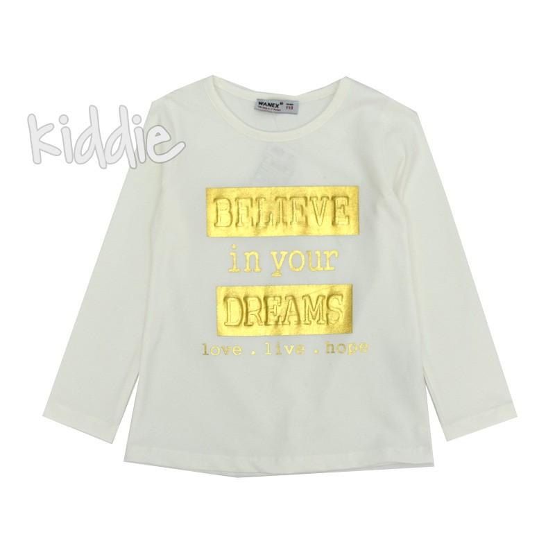 Детска блуза Wanex със златни надписи за момиче