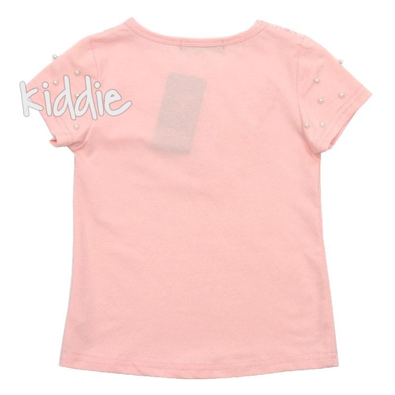 Детска тениска с дантела и перли Happy Star