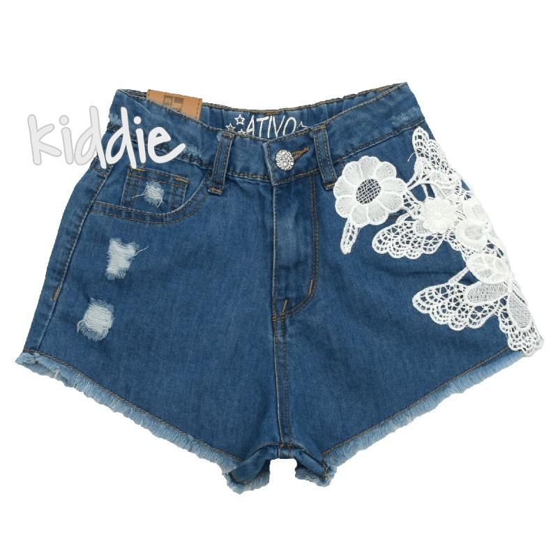 Детски дънкови панталони Ativo за момиче с дантела