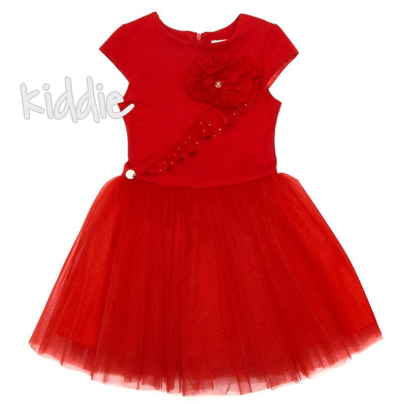 Детска рокля Contrast с цвете и тюл