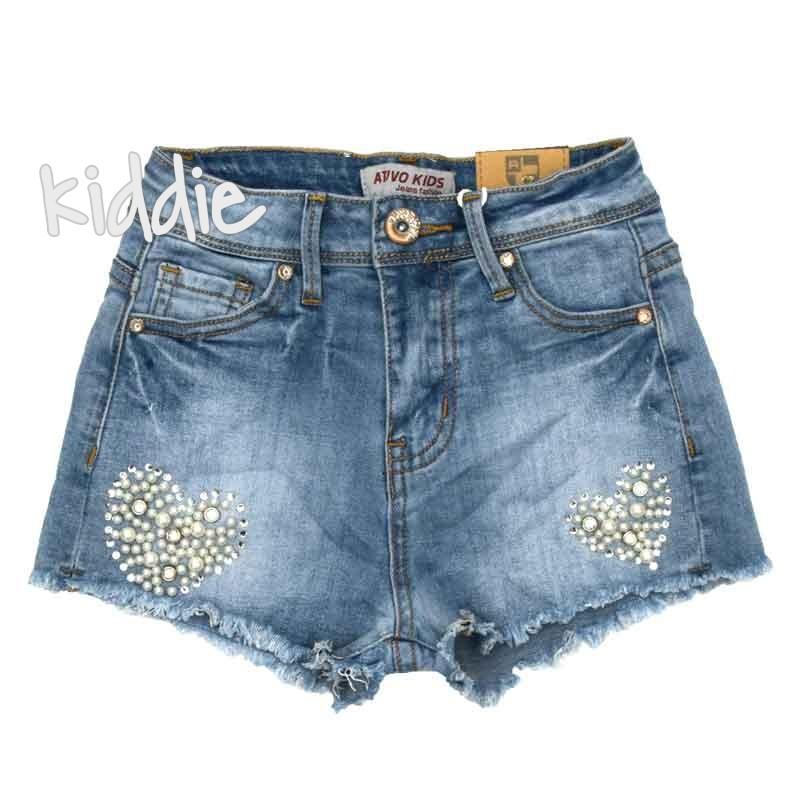 Къси дънкови панталони Ativo за момиче с перли
