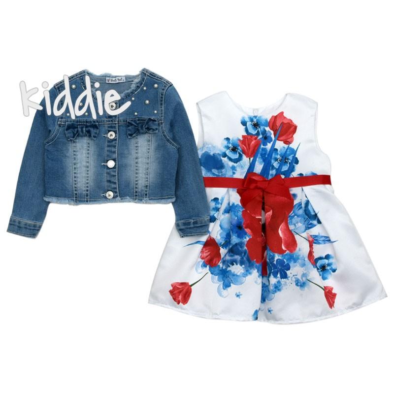 Детски комплект SmileYes за момиче с дънково яке