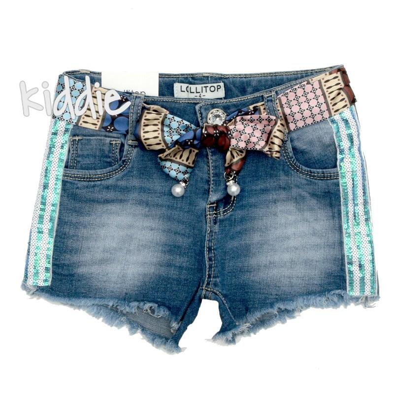 Детски дънкови къси панталони Lollitop момиче