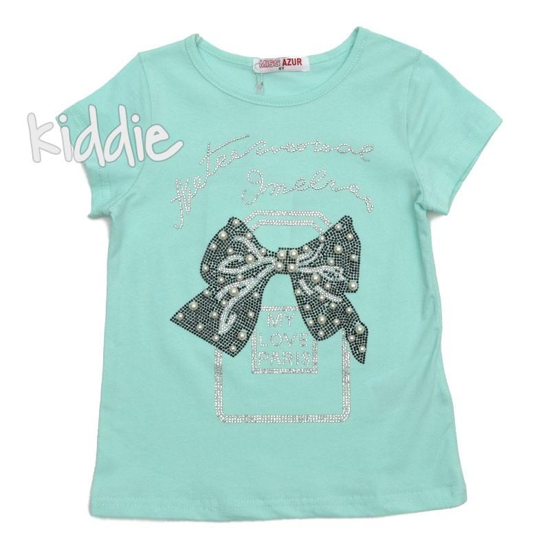 Детска тениска Miss Azur за момиче My love Paris