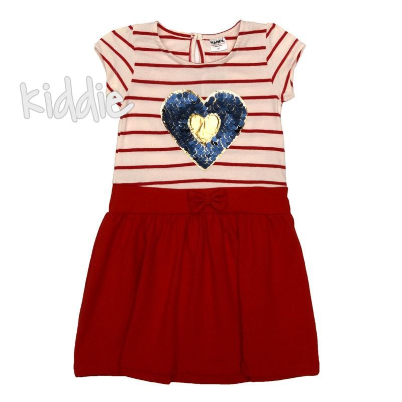 Детска рокля Wanex със сърце от пайети
