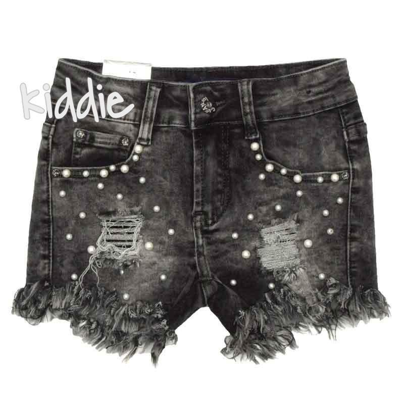 Детски дънкови панталони Mua Girl за момиче с перли