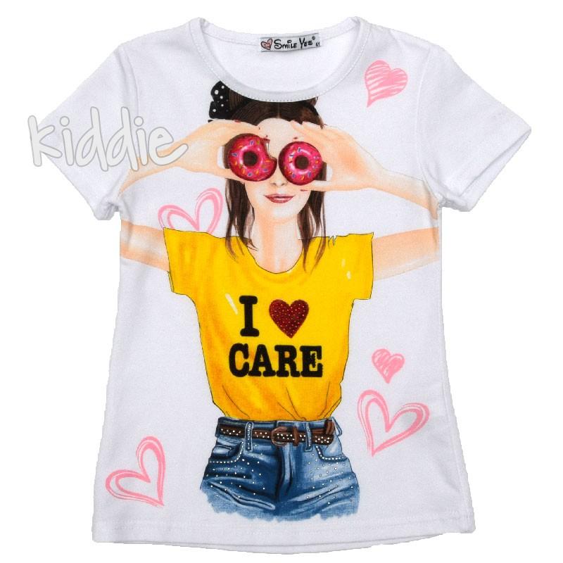 Детска тениска I Love Care Smile Yes за момиче
