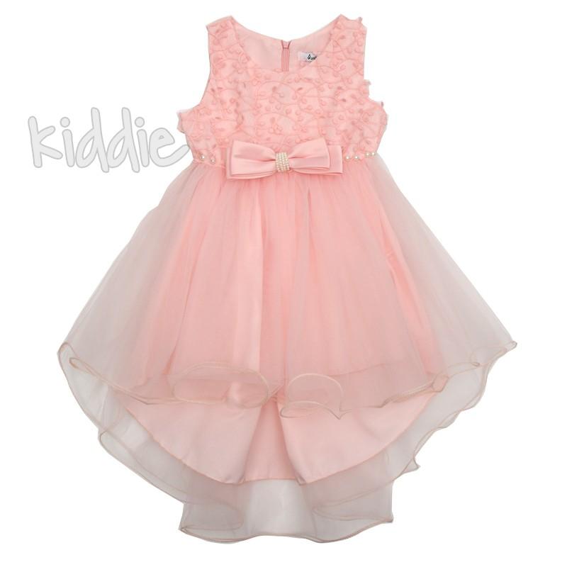 Детска рокля с дантела и панделка