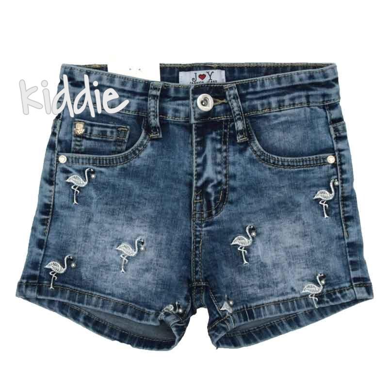 Детски дънкови панталони Joy с фламинго за момиче