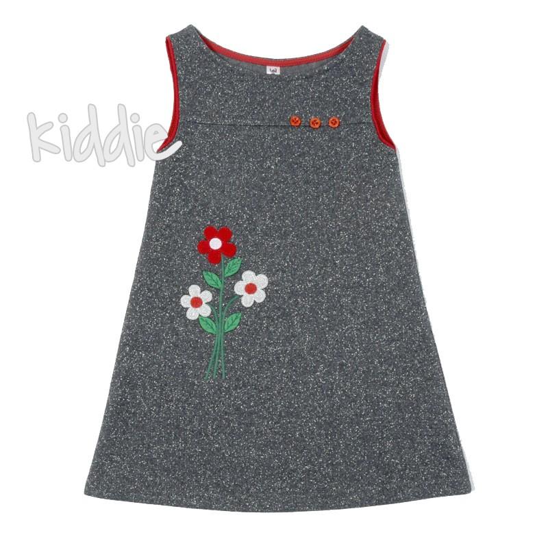 Детска сребърна рокля с цветя
