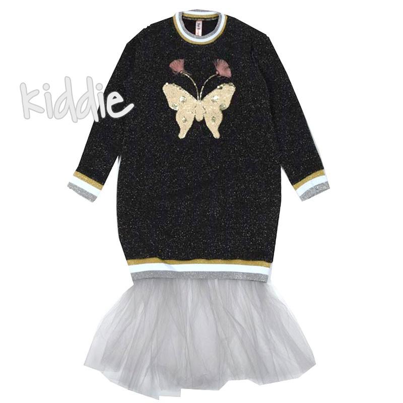 Детска рокля с ламе и пеперуда