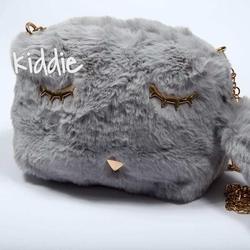 Детска пухкава чанта с очи