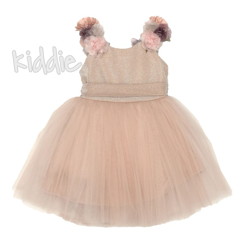 Детска рокля Monita Kids с цветя на рамената
