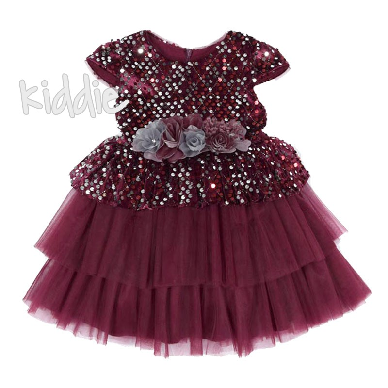 Официална детска рокля с пайети Monita