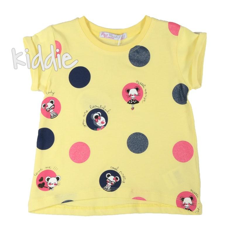 Детска тениска за момиче на точки Masali