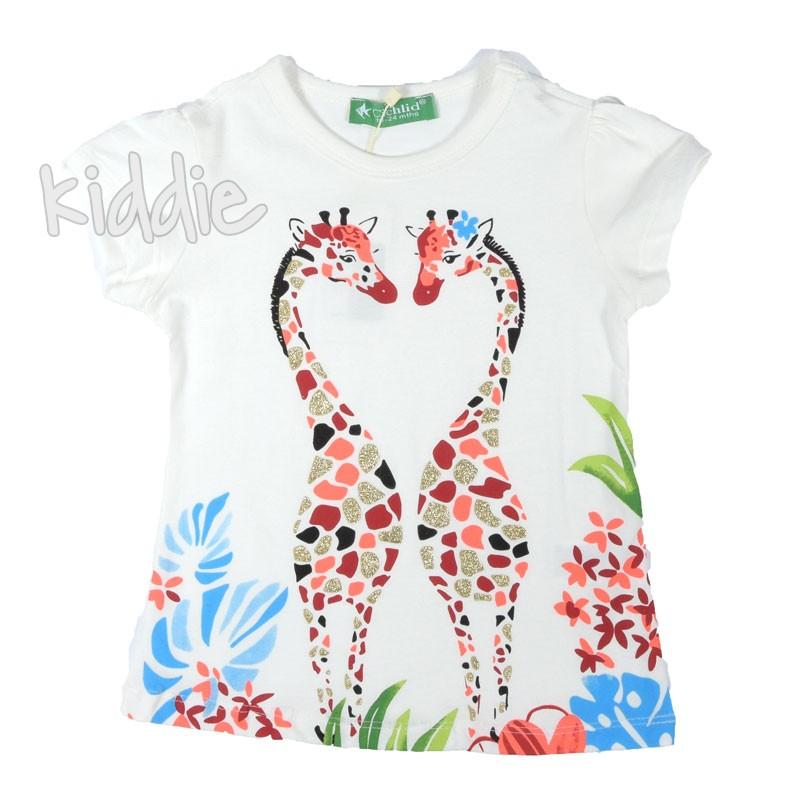 Детска тениска Жирафи Cichlid за момиче