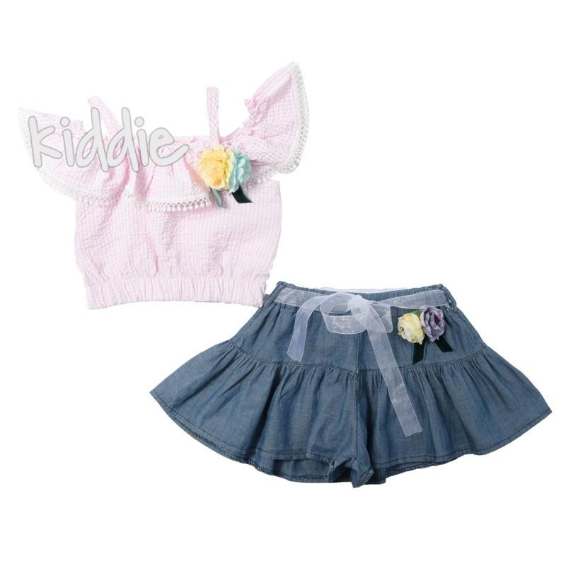 Детски комплект за момиче с пола панталон Cumino