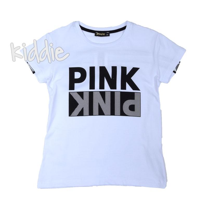 Детска тениска Pink Jesmina с надпис за момиче