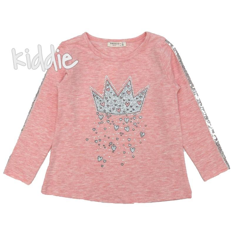 Детска блуза Breeze с кант от пайети за момиче