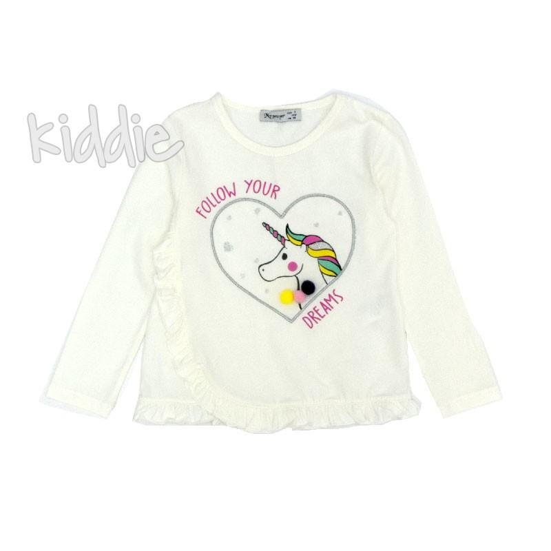Детска блуза Еднорог My prayer с къдрици